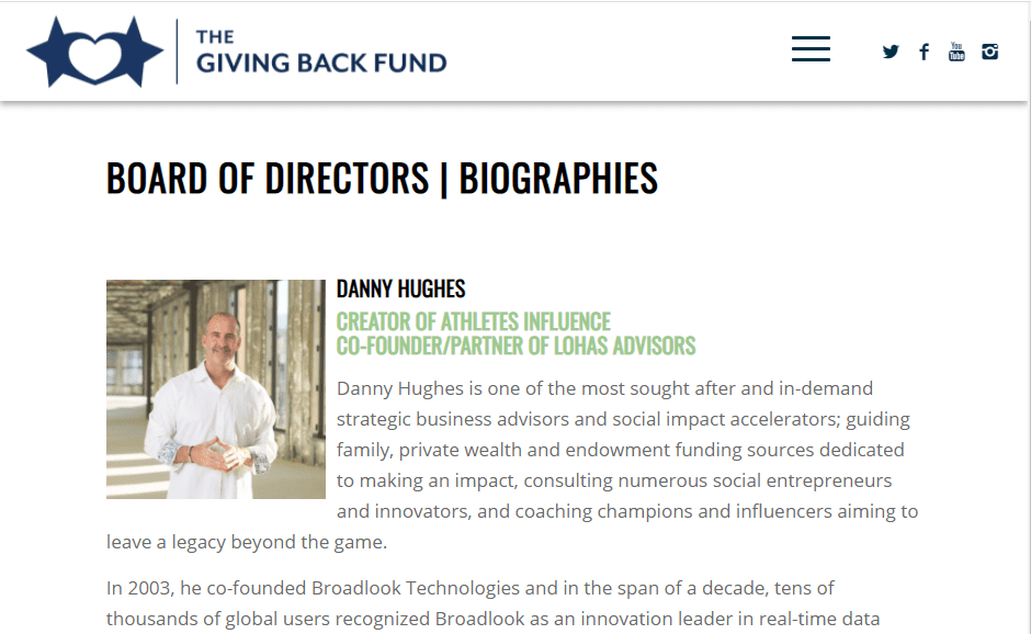 Dan Hughes Joins Board of The Giving Back Fund