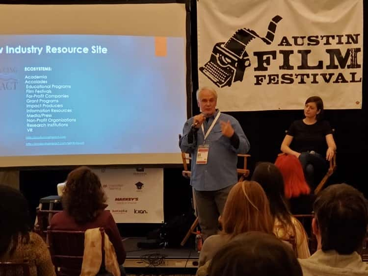 Will Nix speaking about the Social Impact Entertainment (SIE) Society at an Austin Film Festival Event